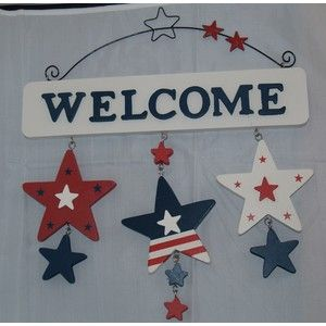 Red, White and Blue Welcome Sign