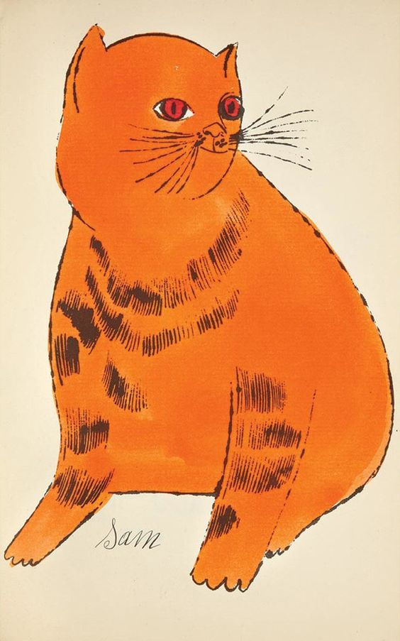 Andy Warhol - Orange Cat Sitting (from 25 Cats Named Sam and One Blue Pussy) | From a unique collection of animal prints at http://www.1stdibs.com/art/prints-works-on-paper/animal-prints-works-on-paper/