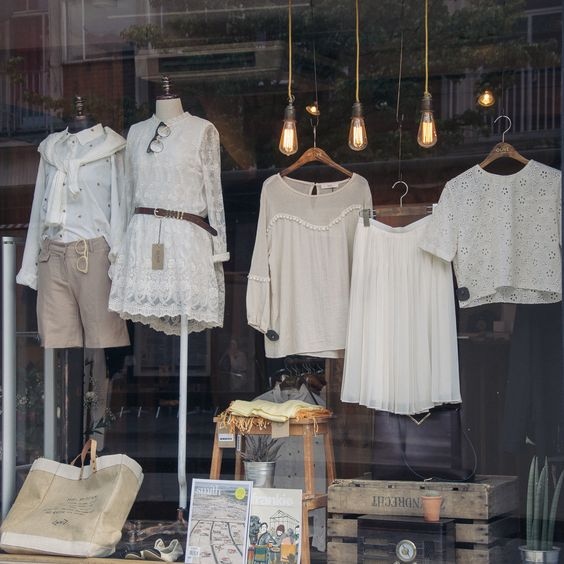 Retail window display.  Although you might want to rethink under the clothing a…