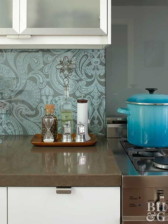 A Modern Blue Kitchen With Global Style Kitchen Wallpaper