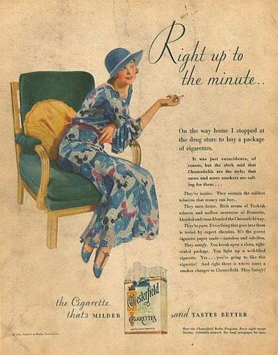 Chesterfield cigarette ads from the 1930s