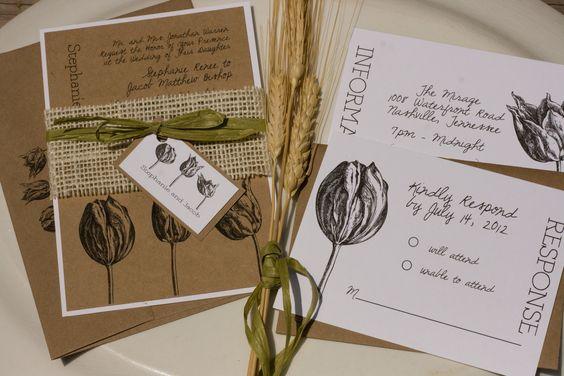 Vintage Style Engraved Botanical Tulip Natural Wedding Invitation Suite by Lemon Square Designs
