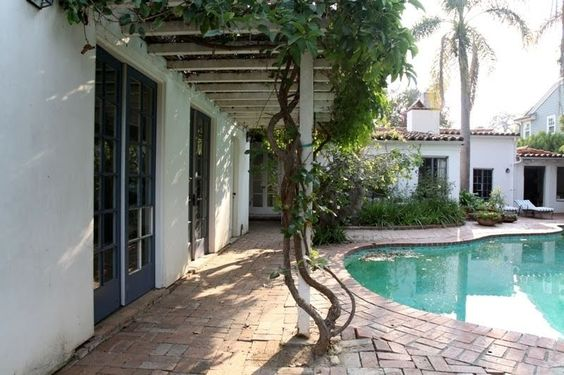 Recent photo of the pool and garden at Marilyn's Brentwood house.