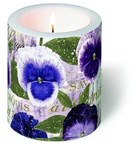 Decorazione candela rotonda con viole del pensiero