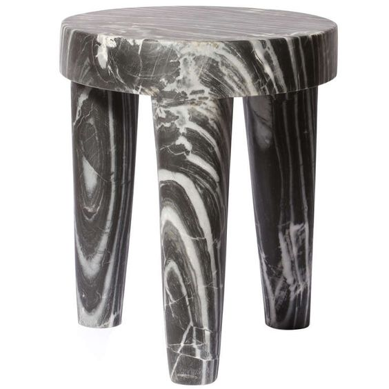 Three Legged Marble Stool by Kelly Wearstler