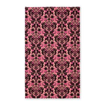 #Pink and Black #Damask 3x5 Area #Rug A beautiful floral Damask $80.49 3' x 5' area rug 100% polyester yarn, low pile Non-slip bottom #homedecor