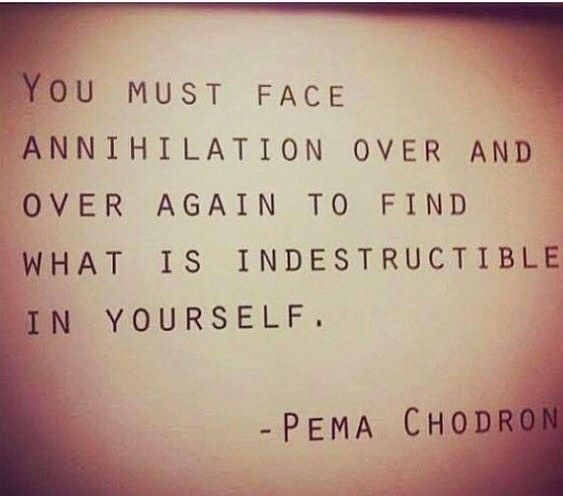 Pema Chodron quote. You must face annihilation over and over again to find what is indestructible in yourself.