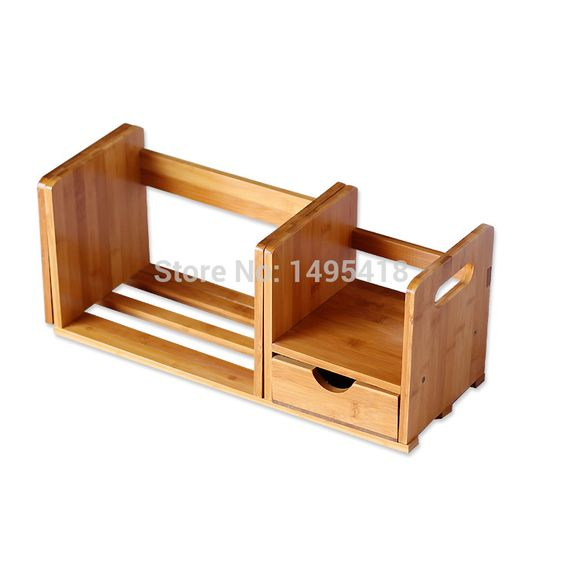 Bamboo Bookcase Bookcase Simple Desktop Bookshelf Wood Small Table Small Bookcase With Drawer