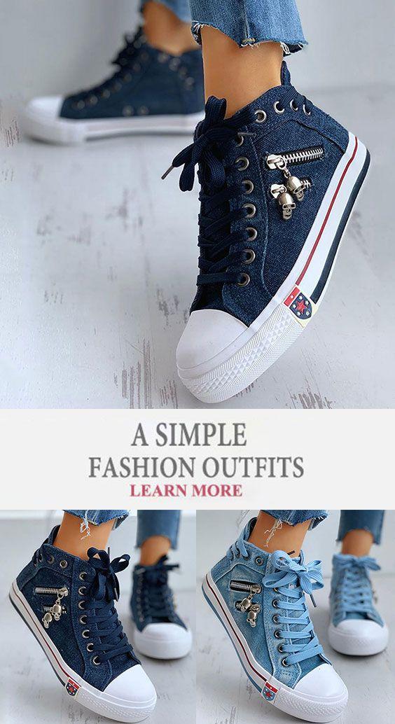 Women Denim Skull Zipper Lace Up Flat Heel Sneakers Sneakers Fashion Outfits Sneaker Heels Denim Women
