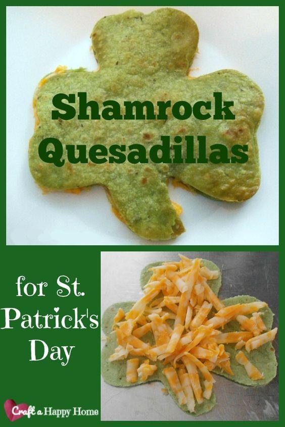 Shamrock Quesadillas ~ St Patricks Day Snack for Kids
