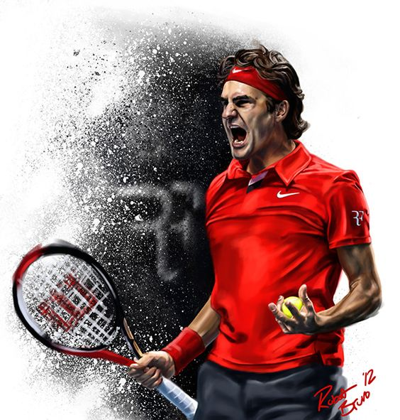 Digital Painting Montage featuring the current top four ranked tennis player in…