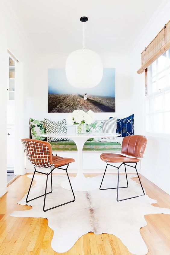 California Eclectic effortless decor Anthropologie style home; cowhide; modern breakfast nook