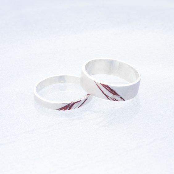 Mixed Metal Rings #jewelry #jewellery #rings #ring #contemporary #mokume #mokumegane #silver #copper #patina