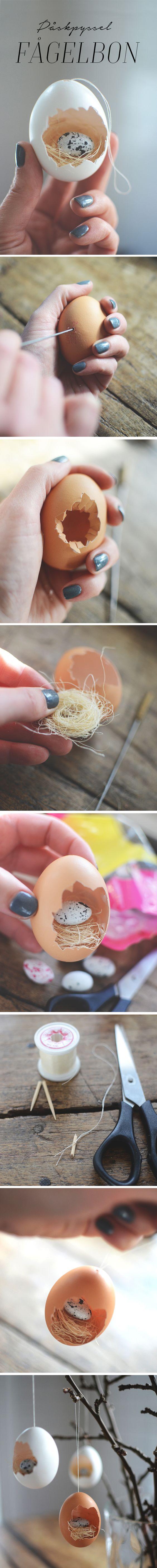 Påskpyssel_göra små fågelbon av ägg till påskriset. Easter craft, easter DIY_ making small bird nests in eggshells_@helenalyth.se: