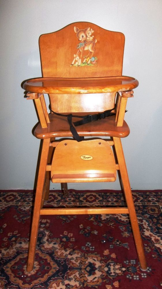 Vintage Wood High Chair Wooden High Chair Baby Chair 1950s