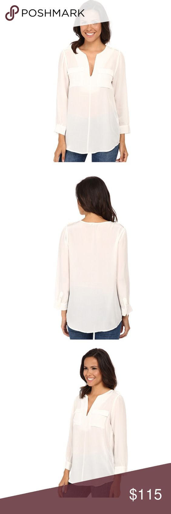 Joie Marlo Silk Top Joie silk top with bracelet length sleeves, two front chest pockets, split V-neck, rounded hem and epaulettes. 100% silk. No stains or pulls, freshly dry cleaned. Still selling new at Joie for $228 Joie Tops Blouses
