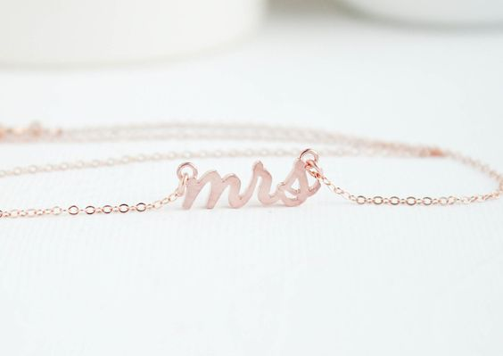 Mrs Necklace, Rose Gold Mrs Necklace, Bridal Shower Gift, Bridal Jewelry, Wedding Jewelry by PROJECTDAHLIA (http://ift.tt/1uxHT5K)PURCHASE HERE: http://ift.tt/1pdnFMT