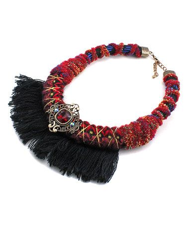 Another great find on #zulily! Red Embellished Fringe Wrapped Statement Necklace #zulilyfinds