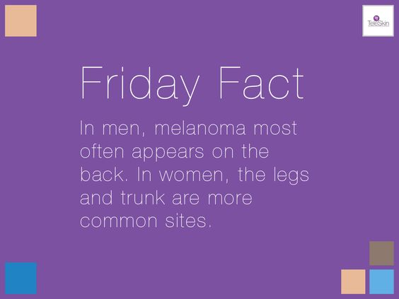 In men, melanoma most often appears on the back. In women, the legs and trunk are more common sites.