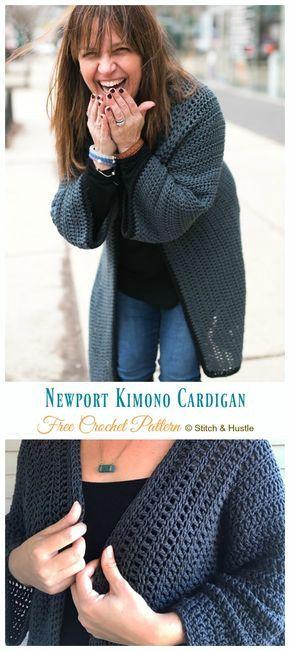 Women Kimono Cardigan Free Crochet Patterns i 2020   Tøj