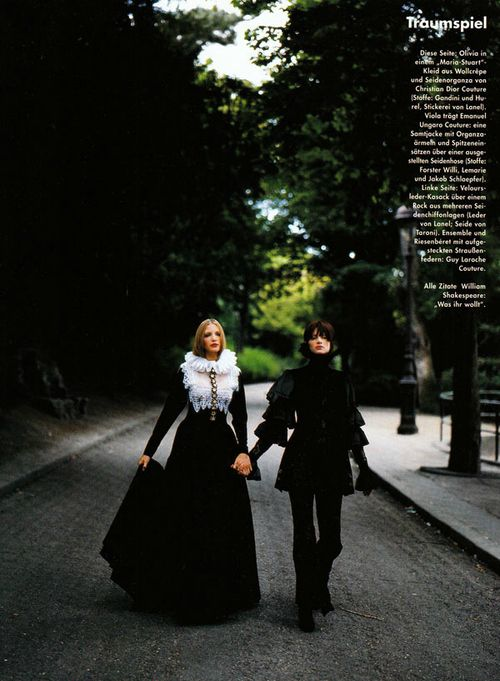 """Nadja Auermann in Christian Dior and Kristen McMenamy in Emanuel Ungaro Fall 1993 Haute Couture for """"Tramspiel"""" by Mario Testino, Vogue Germany December 1993"""
