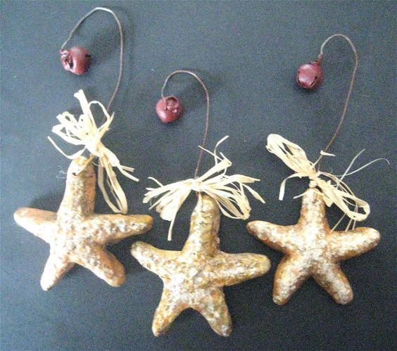 STAR FISH Ornament-Set/3 in Hand-Painted by FolkArtWorks on Etsy