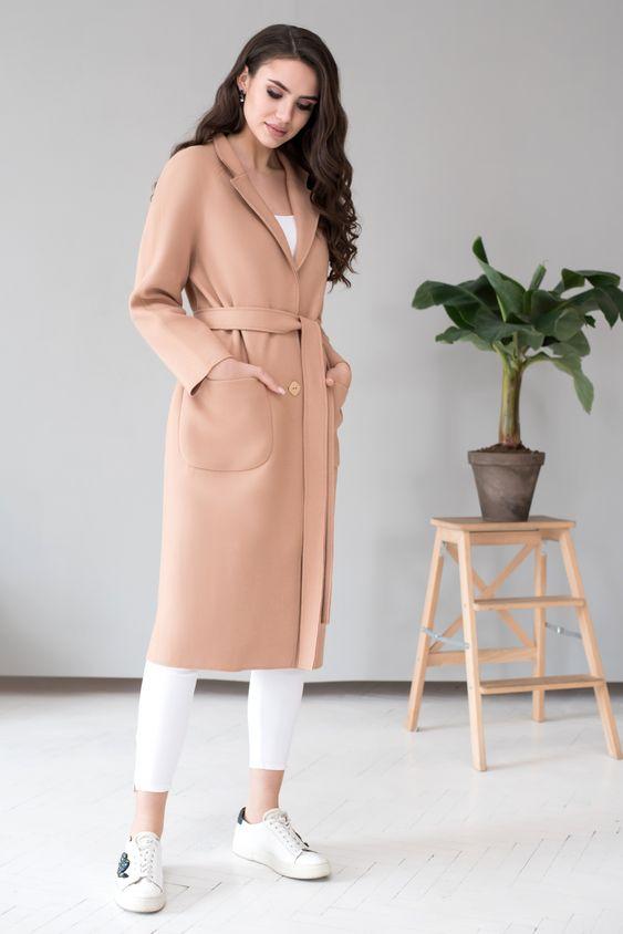 Классическое базовое пальто, облегченный вариант, элегантный силуэт, весна-осень 2019, пальто для полных, женское пальто.