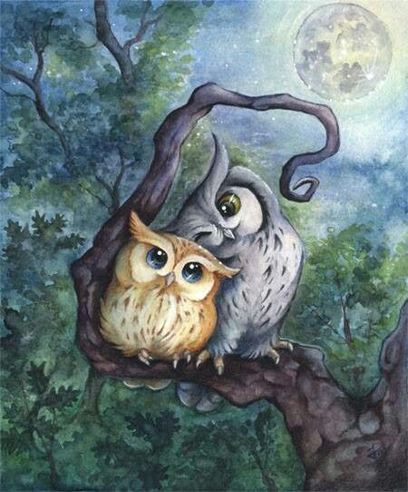 Two wise owls under the beautiful full moon. Whoever drew and painted this is AMAZING!!:
