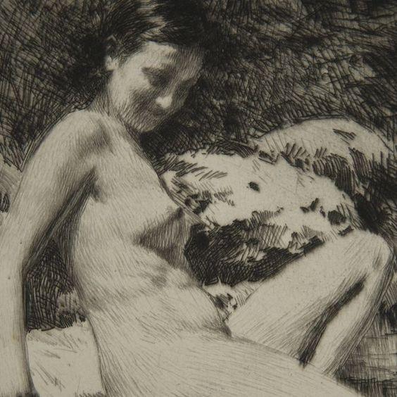 L'oasis, gravure  Lucien Grandgerard