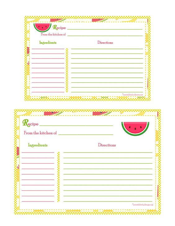 Banana Strawberry Pineapple Background Recipe Card  X  X