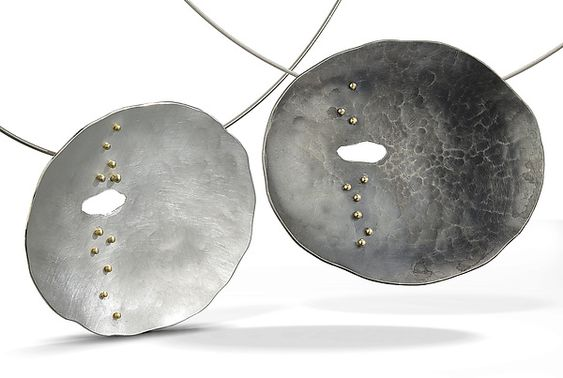 Tracks Necklace: Beverly Tadeu: Gold & Silver Necklace - Artful Home