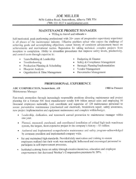 maintenance manager resumes