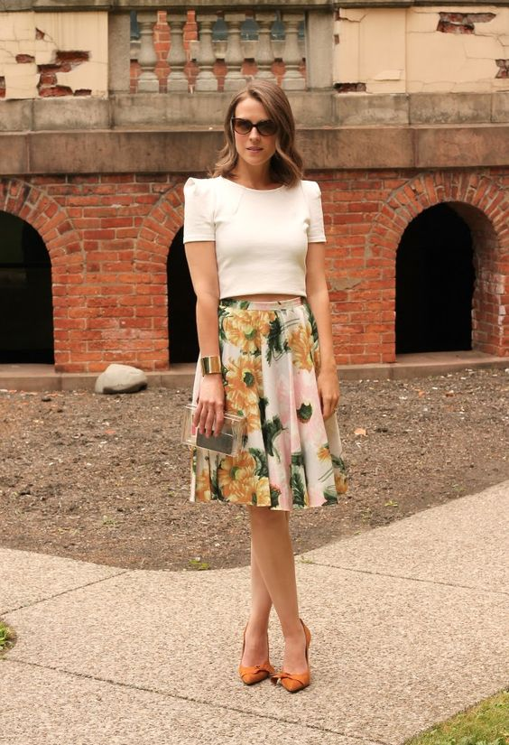 Outfits of The Day : White Crop Top And Midi Skirt White Crop Top ...