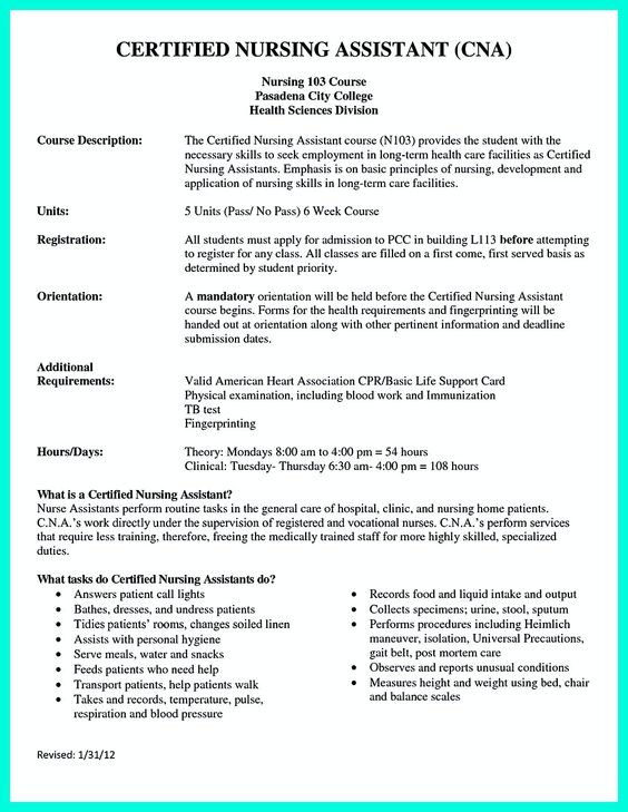 how to make a cna resumes