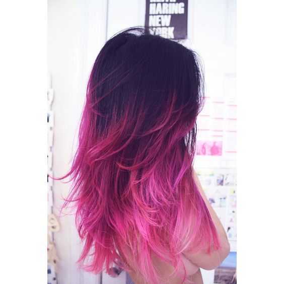 READY TO SHIP // Black and Pink Ombre // Clip in Hair extensions ($142) ❤ liked on Polyvore