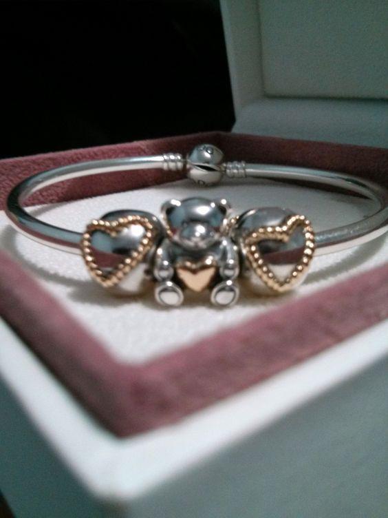 67029e0d5 Pandora Silver&Gold Dangle Heart Charms Outlet 790173