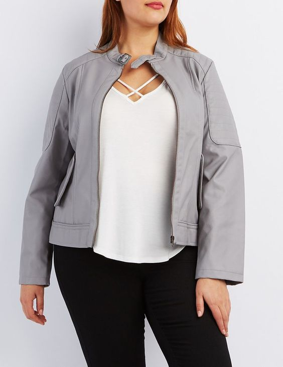 Plus Size Gray Faux Leather Jacket by Charlotte Russe
