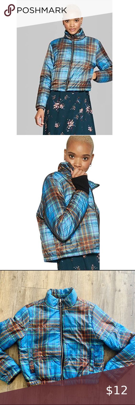 Wild Fable Blue Plaid Puffer Coat Blue Plaid Puffer Coat Target Brand Size M Please Feel Free To Ask Me Any Qu Puffer Coat Red Puffer Jacket Black Puffy Coat [ 1692 x 564 Pixel ]