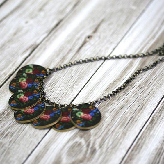 Folk Blume Charm Halskette Halskette Blume von mamaslittlebabies