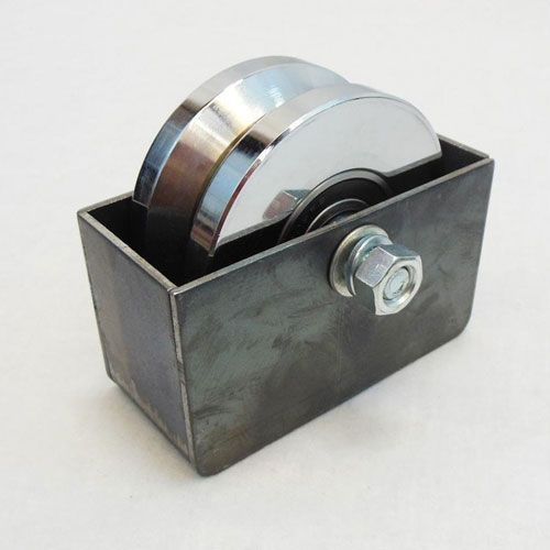 Includes 5 x 3 Weld In Mounting Box 4 V-Groove Sliding Gate Wheel /& Axle