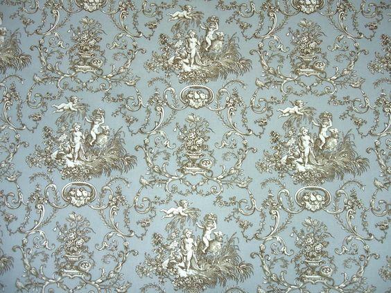 Curtains Ideas curtains double width : Double Width Cherub Toile Cotton Fabric - Blue Grey - The Millshop ...