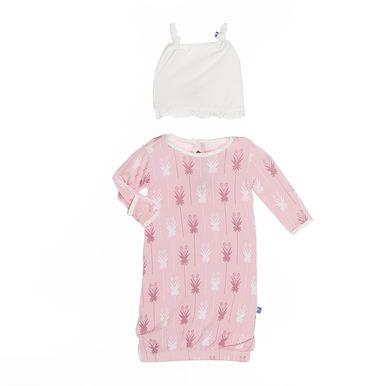 KicKee Pants Ruffle Layette Gown Set - Lotus Curly Heart Fern