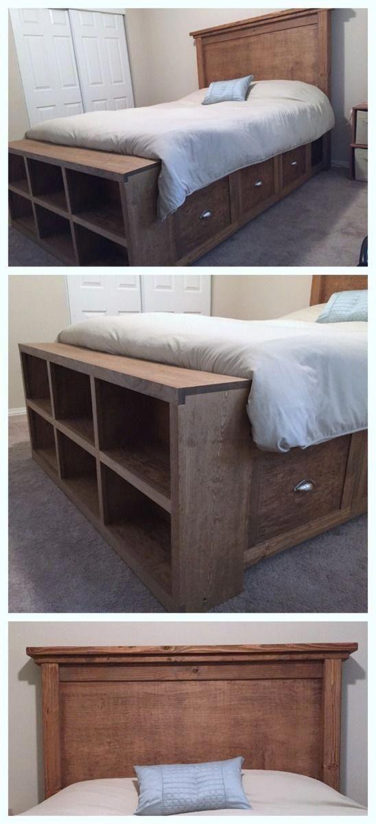 Bed Frame And Headboard King In 2020 Diy Furniture Bedroom Bed Frame With Storage Bookshelves Diy