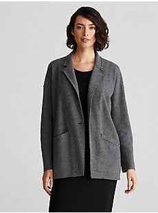 Notch Collar Jacket in Lightweight Overwashed Wool | EILEEN FISHER