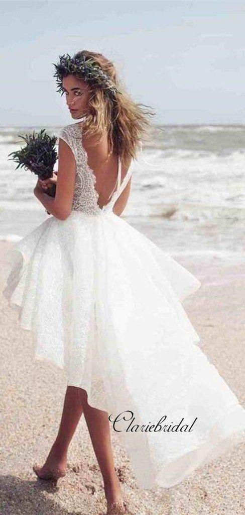 Short Lace Wedding Dress High Low Wedding Dresses Beach Wedding