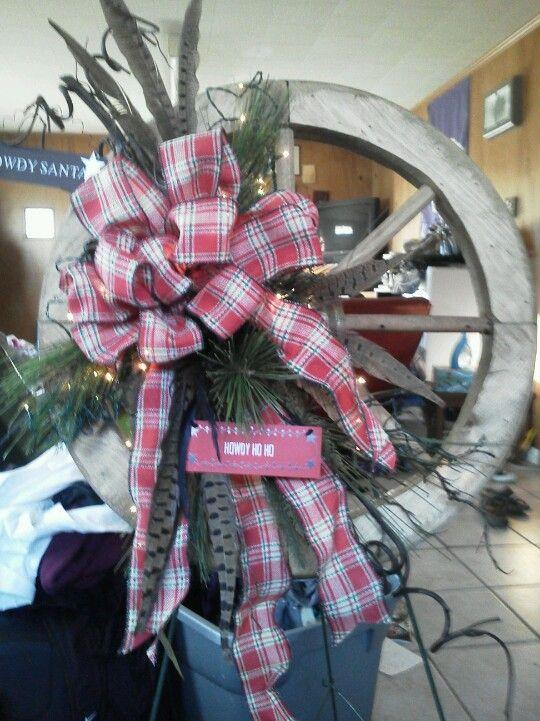 Wagon wheel Christmas wreath