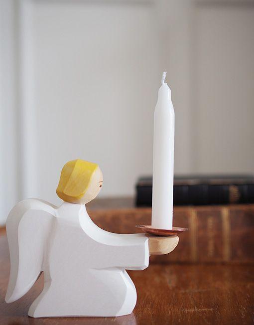 Figurine porte bougie ange en bois catho r tro no l for Porte bougie bois flotte