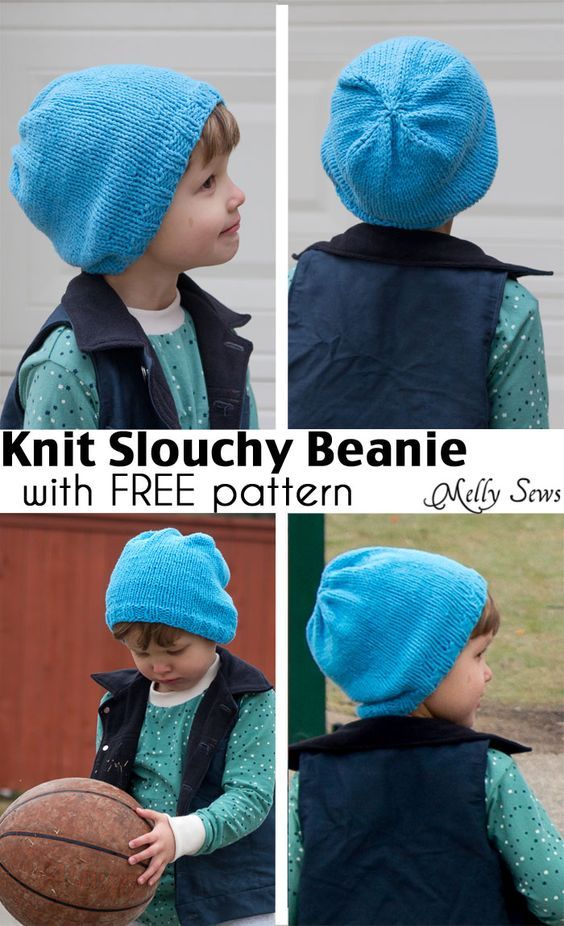 Knit Pattern Beanie Easy : Slouchy Knit Beanie Pattern in Any Size Knit Beanie Pattern, Beanie Pattern...