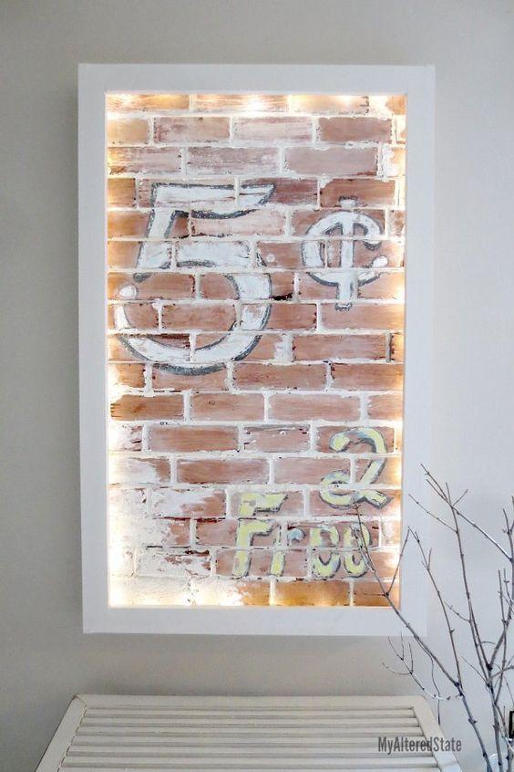 Faux brick wall art wall art crafts wood wall decor and - Fake brick wall decoration ...