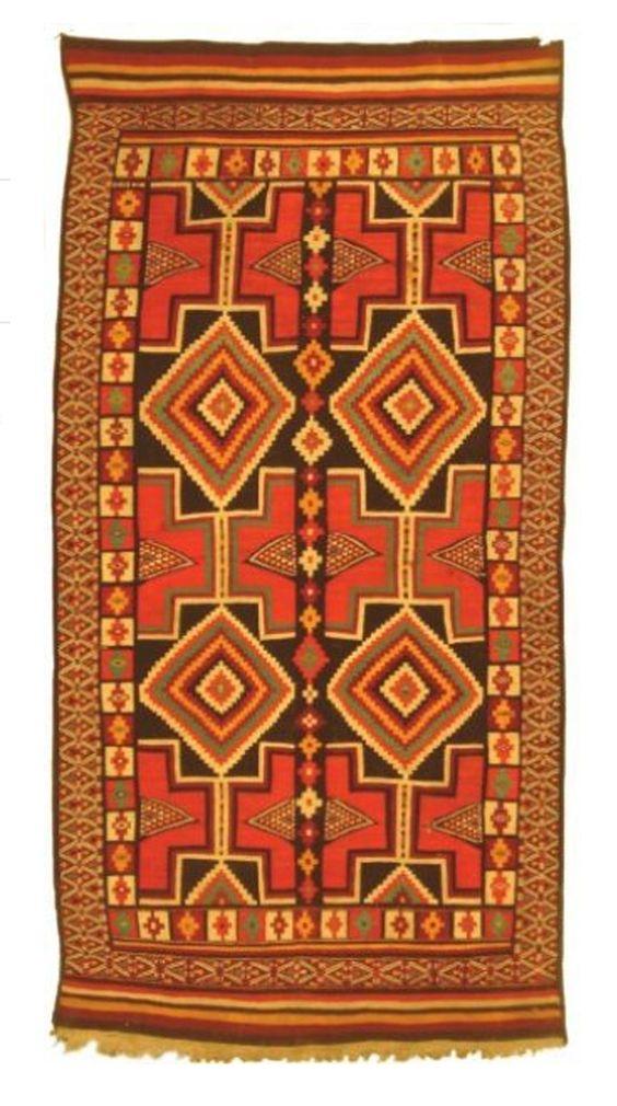 Africa | Wool carpet; kilim flat weave.  Khenchela region, Algeria | 2nd quarter of the 19th century